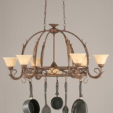 <strong>Toltec Lighting</strong> Leaf 8 Light Chandelier Pot Rack with Italian Marble Glass Shade
