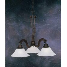 Wave 3 Light  Chandelier with Marble Glass Shade