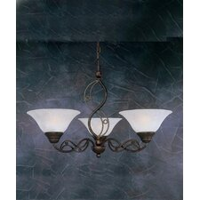 <strong>Toltec Lighting</strong> Jazz 3 Up Light Chandelier with Marble Glass Shade