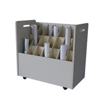 Mobile Wood Roll File with 21 Compartments for Blueprints