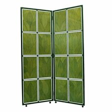 "67"" Cocoa Leaf Screen 2 Panel Room Divider"