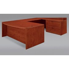 Fairplex Right / Left Executive Bow Front Lateral File U Desk with Grommet Holes and Wire Management
