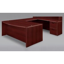 Fairplex Right / Left Bow Front U Executive Desk with Grommet Holes and Wire Management