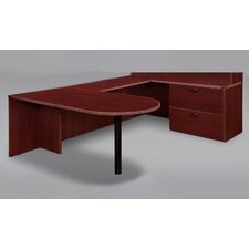 Fairplex Right / Left Executive Bullet Lateral File U Desk with Grommet Holes and Wire Management
