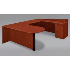 <strong>DMI Office Furniture</strong> Fairplex Right Executive Corner Peninsula / Bullet U Desk with Grommet Holes and Wire Management