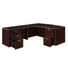 "Fairplex Right Executive Corner Bow Front ""L"" Desk with 5 Drawers"