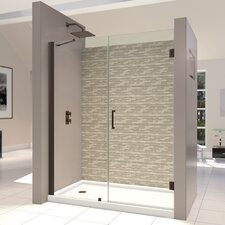 "Unidoor 53 - 54"" W x 72"" H Hinged Shower Door"