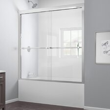 "Duet 56 to 59"" Frameless Bypass Sliding Tub Door, Clear 5/16"" Glass Door"