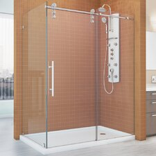 "Enigma-Z 34.5"" x 60.375"" Fully Frameless Sliding Shower Enclosure"