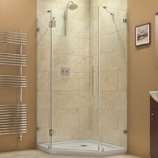 "PrismLux 34 5/16"" by 34 5/16"" Frameless Hinged Shower Enclosure, 3/8"" Glass Shower"