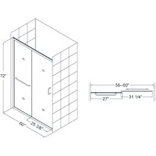 "Infinity-Z 56 to 60"" Frameless Sliding Shower Door, 1/4"" Glass Door"