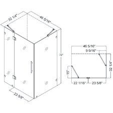 "QuatraLux 34 5/16"" by 46 5/16"" Frameless Hinged Shower Enclosure, 3/8"" Glass Shower"