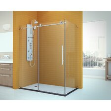 "Enigma-X 34 1/2"" by 60 3/8"" Fully Frameless Sliding Shower Enclosure, Clear 3/8"" Glass Shower"