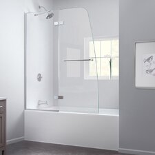"Aqua Ultra 48"" Frameless Hinged Tub Door, Clear 5/16"" Glass Door"