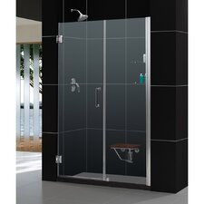 "Unidoor 58 to 59"" Frameless Hinged Shower Door, Clear 3/8"" Glass Door"