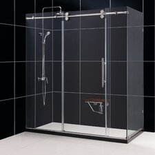 """Enigma 36"""" by 72 1/2"""" Fully Frameless Sliding Shower Enclosure, Clear 1/2"""" Glass Shower"""