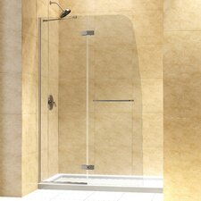 "Aqua Ultra Frameless Hinged Shower Door and SlimLine 36"" by 60"" Single Threshold Shower Base Center Drain"