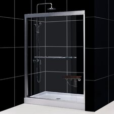 "Duet Frameless Bypass Sliding Shower Door and SlimLine 32"" by 60"" Single Threshold Shower Base Center Drain"