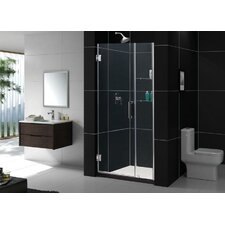 Unidoor Frameless Hinged Shower Door with Glass Shelves