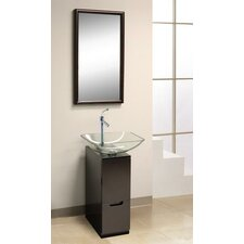 "9.88"" W x 35.38"" H Glass Slim Line Vanity Set"