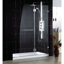 "AquaLux 60"" W x 74.75"" H x 36"" D Hinged Shower Door with SlimLine Base"