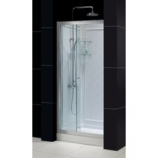 "Butterfly Frameless Bi-Fold Shower Door and SlimLine 32"" by 32"" Single Threshold Shower Base"