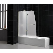"Aqua 48"" Frameless Hinged Frosted Left Side Tub Door"