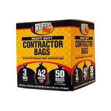 Contractor 42 Gallon Heavy-Duty Clean Up Bags in Black (50 Count)
