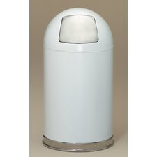 Metal Series 12 Gallon Dome Top Trash Can in White