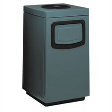 Fiberglass Series 36 Gallon Side Entry Square Ash 'N Trash with Doors on Trash Opening and Side