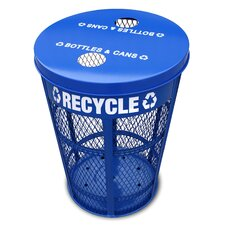 Expanded Metal Outdoor Recycling Receptacle in Blue