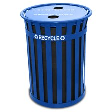 Oakley Slatted Metal Recycling Receptacle