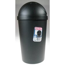 12 Quart Black Round Swing-Top Wastebasket