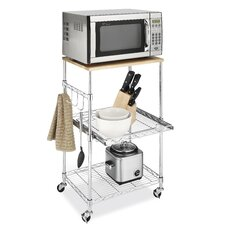 Supreme Microwave Cart with Wood Top (Set of 2)