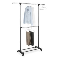 <strong>Whitmor, Inc</strong> Adjustable Two Rod Garment Rack in Chrome / Black