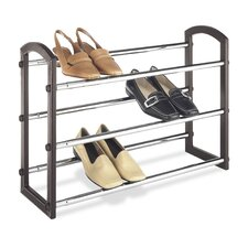 <strong>Whitmor, Inc</strong> Three Tier Faux Leather Expanding Shoe Rack in Chrome