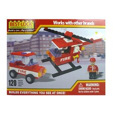 Construction Fire Helicopter and Car Building Set - 120 Pieces