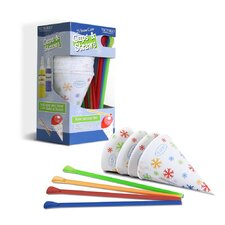 6 Ounce Snow Cone Cups and Spoon Straws (Pack of 25)