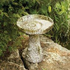 Stone and Flower Birdbath