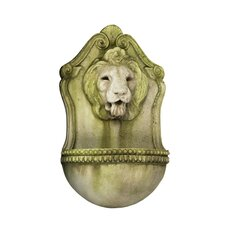 Fiber Stone Aged Lion Wall Fountain