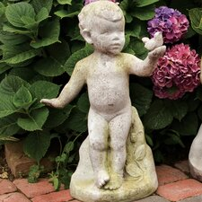 <strong>OrlandiStatuary</strong> Children Nature's Child with Bird Statue