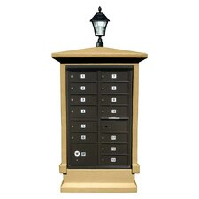 Stucco Short Pedestal CBU Mailbox Center Column with Solar Lamp