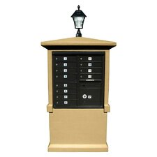 Stucco Tall Pedestal CBU Mailbox Center Column with Solar Lamp