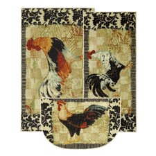 New Wave Kitchen Bergerac Rooster Novelty Rug (Set of 3)