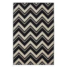 Strata Black/White Lascala Chevron Stripe Rug