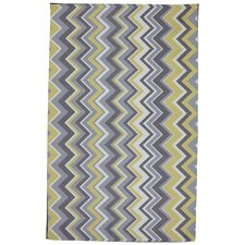 Outdoor/Patio Yellow Ella Zig Zag Area Rug
