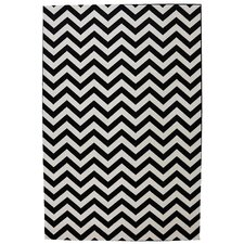 Outdoor Patio Woven Black Herringbone Rug
