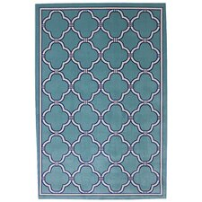 Outdoor Patio Woven Parsonage Winter Mist Blue Outdoor Area Rug