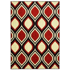 Woodgrain Stylin Ogee Red/Yellow Area Rug