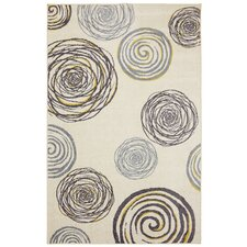 Free Flow Cream Swirlz Geometric Area Rug